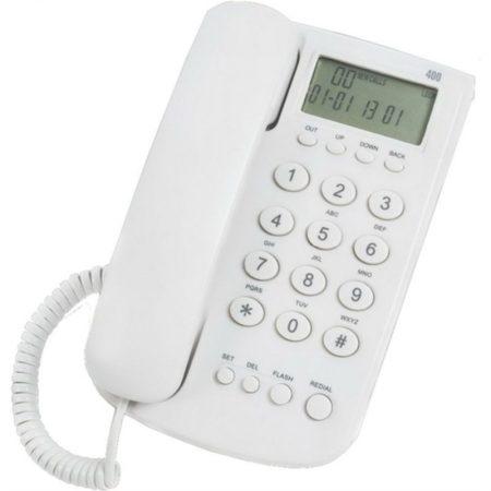 Σταθερό Τηλέφωνο SKH-400 με αναγνώριση κλήσεων Λευκό
