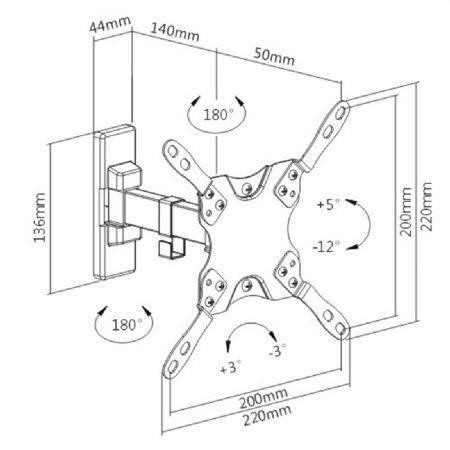 "LDA21-221 Βάση Τοίχου Τηλεόρασης από 13"" έως 42"""