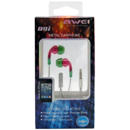 Hands Free Stereo Awei Q9i Apple iPhone 6 3.5mm με Ρυθμιστή Έντασης & Μικρά Ακουστικά Ροζ-Πράσινο