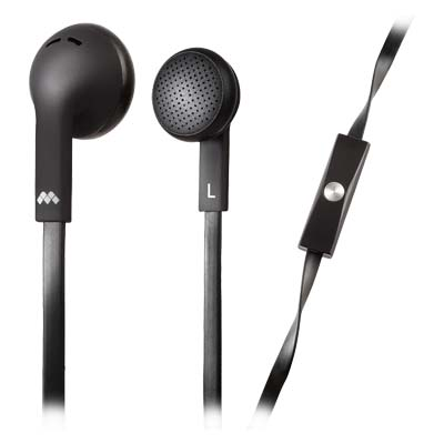 MELICONI 497394 MYSOUND SPEAK FLAT BLACK IN-EAR STEREO HEADSET (WITH MICROPHONE)