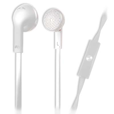 MELICONI 497395 MYSOUND SPEAK FLAT WHITE IN-EAR STEREO HEADSET (WITH MICROPHONE)