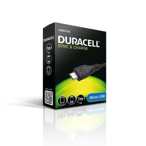 Καλώδιο Σύνδεσης USB Duracell Micro USB 1m Μαύρο