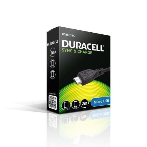 Καλώδιο Σύνδεσης USB Duracell Micro USB 2m Μαύρο